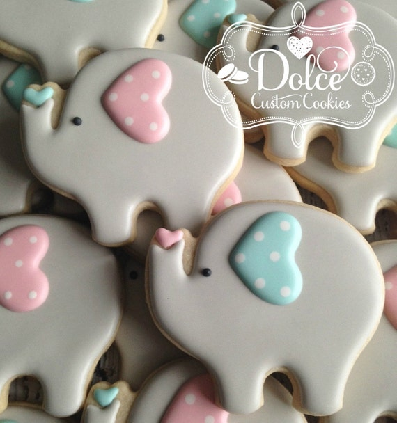 Baby Elephant Cookies Large Baby Shower or First Birthday