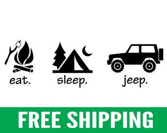 "Eat. Sleep. Jeep. | 9"" Vinyl Stickers, Pair"