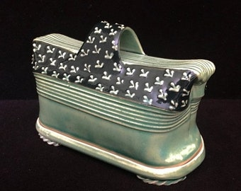Memorial Moving Sale Charan Sachar Hand Made Ceramic Green Butter Dish India Pottery