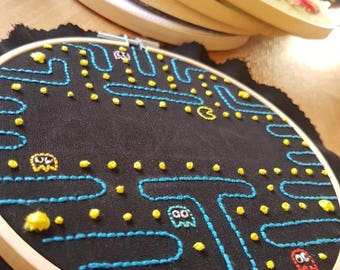 Bespoke Hand Made Embroidered Personalised/Customised Pacman Hoop Wall Hanging