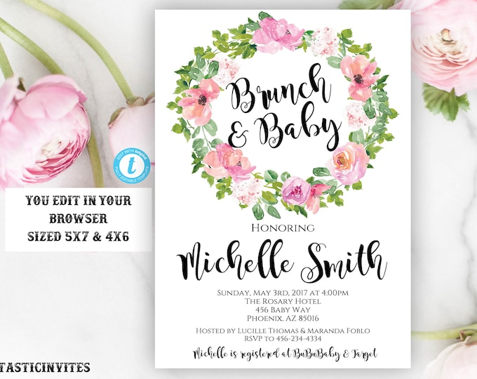 Baby Shower Invitation, Floral Rustic Boho Baby Shower Invite, Instant Download, Editable, Pink Baby Shower, Girl, Baby Brunch, Watercolor