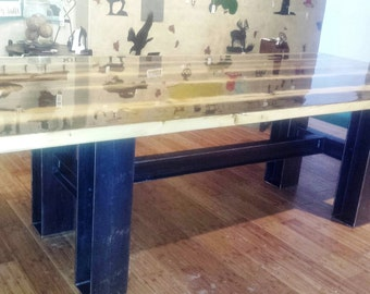 Modern Industrial Rustic 9 Foot Dining Table, Kitchen Table, Conference Table Made of Recycled Metal and Reclaimed Wood
