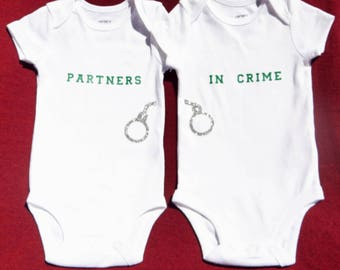 Partners in Crime, Twins, Baby, Babies, Newborn, Infant, Handcuff, Bodysuit, Glitter, Green, Silver, Custom, Personalize