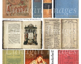 Antique BOOKSHELF digital collage sheet, Victorian book covers, vintage ephemera text pages print reading schoolbooks Steampunk art DOWNLOAD