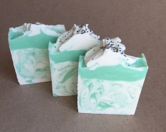 """Artisan Handcrafted """"Stress Relife"""" Eucalyptus and Spearmint Cold Process Soap Bar Handmade"""