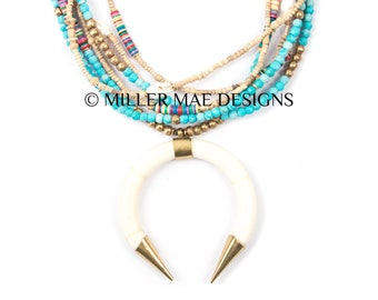 Turquoise Crescent Horn Necklace | African Clay Necklcae | Bohemian Statement Necklace | Boho Statement | Bohemian Horn Necklace