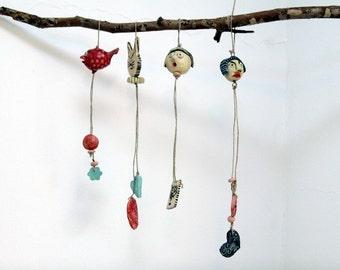 Friends -------- Ceramic Miniature on String.