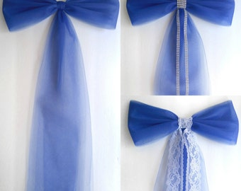 Wedding Pew Decorations-Royal Blue-Wedding Decorations-Pew Bow