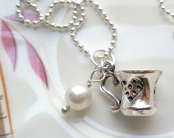 Teacup Necklace - featuring adorable silver teacup charm and vintage pearl - Ready to Ship