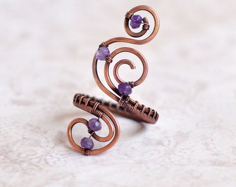 Amethyst-Ring Copper Adjustable Ring Copper Jewelry Stone ring Copper stone ring Copper amethyst ring Gift Wire Jewelry unique rings for her