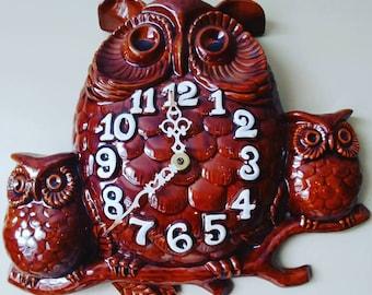 Retro Ceramic Owl Clock