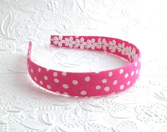 Girls Headband, Pink Fabric Covered Headband ~ Hot Pink White Polka Dot Fabric Girls Headband ~ Plastic Headband ~ Girls, Adults, Women