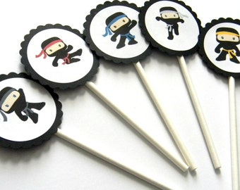 12 Ninja Cupcake Toppers, Ninja Party, Boy Birthday, Ninja Birthday, Warrior Party, Ninja Toppers, Martial Arts Party, Birthday Toppers