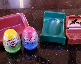 1970s Vintage Haunted House Weeble Wobbles and Accessories