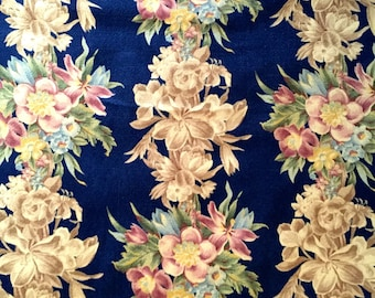 """Magnificent 30s Pastel Floral Barkcloth Fabric// Hollywood Glam Meets Victorian// Cotton Blend Yardage//Upholstery// Drapery// 43"""" x 82"""""""