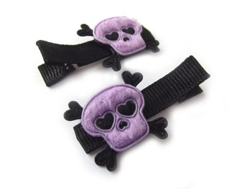 Purple Skull Hair Clips Skull and Crossbones Halloween Hair Clips Rock N Roll Punk Hair Clips Heart Skull Purple Hair Clips Black Hair Clips