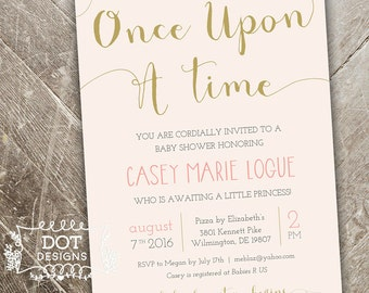 Once Upon a Time - Baby Shower Invitation - Custom Digital Print