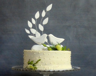 White Wedding Cake Topper, Love Bird Wedding Topper with Wood Leaves and Driftwood Base, 100% Handmade