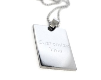 Personalized Stainless Steel  Dog Tag Necklace with Engraved - Custom Your Own message - Engraved Dog Tag Necklace - Engraved ID Tag