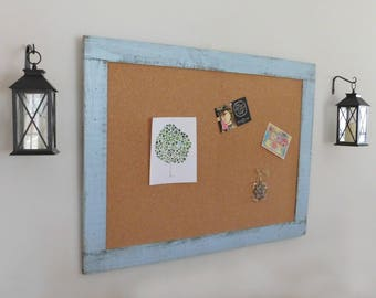 Extra Large FRAMED BULLETIN BOARD - 36 x 48 Cork Board - Message Board - Farmhouse Style Decor - Shown in Pale Blue - Choose From 30 Colors