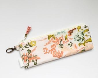 """9.5"""" x 3.5"""" Top Zippered Pouch // Wild Posy Flora  by Bonnie Christine"""