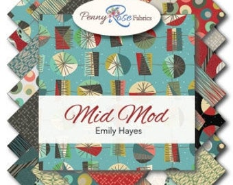 Mid Mod 18 Fat Quarters precuts by Riley Blake 100% cotton fabric for quilting