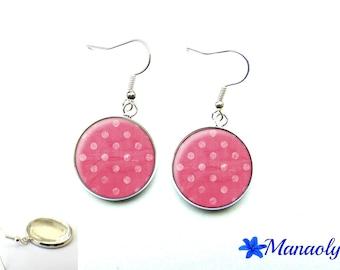 Pink polka dots, 3159 glass cabochons earrings