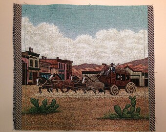 Tapestry Fabric Panel Stagecoach in old Western Town