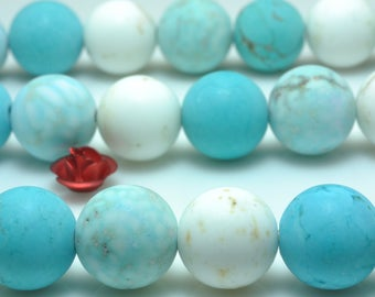 37 pcs of Mixed color Turquoise matte round beads in 10 mm(06839#)