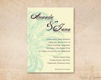 Printable Wedding Invitation - 5x7 - Spencerian Peacock - Antique Calligraphy Personalized DIY - Cream Teal Purple