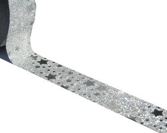 Silver Glitter Stars Washi Masking tape