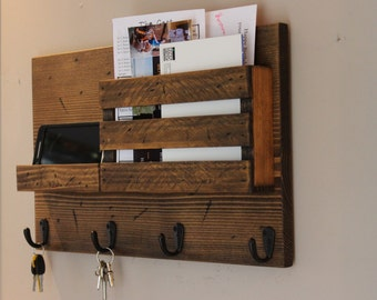 Phone Shelf, Mail Organizer, Rustic Organizer, Key Holder, Mail Holder, Personalized Option Available