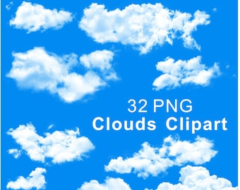 Clouds Clipart, Clouds Clip Art, Clipart Clouds, Digital Clouds Clipart, Nature, High Quality, PNG Files, INSTANT DOWNLOAD