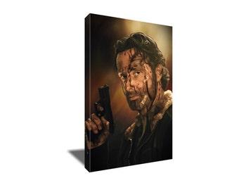 FREE SHIPPING The Walking Dead's Rick Grimes Portrait Canvas Art