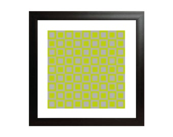 Green & Grey Squares Op Art Print - Square Op Art Poster - Geometric Wall Art