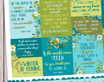 Quotes Magotes, Winter Quotes, Quote Stickers, Inspirational Quotes, Snow Stickers, Quote of the Day, Festival of Flowers, Plantasia