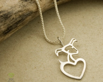Silver Dog Pendant, Silver heart pendant, Gift for her, Hand Made