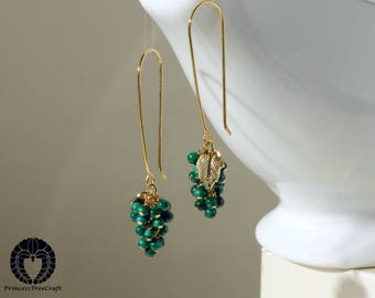Tiny AAA malachite cluster earrings with 14K gold on 925 sterling silver ear wire