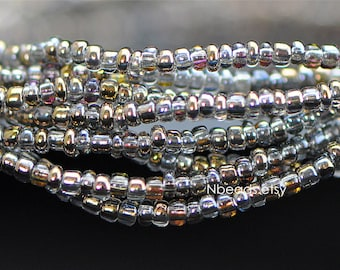 """Glass Seed Spacer Beads 2mm Tiny, Sparkly Gold Rose (#TS73-7)/ 20"""" strand"""