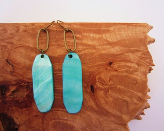 Turquoise blue earrings. Glass shell material, bronze oval ring. Bright jewelry. Gift for her. Dangle earrings. Drop earrings.