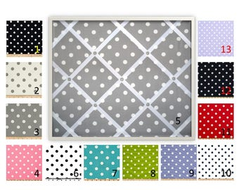 Polka Dot French Memo Board - Bulletin Board - in Your choice of fabric and ribbon colors - 11 x 14 - FREE U.S. Shipping