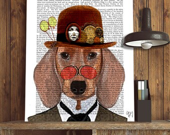 Dachshund Print & Bowler Hat, Dachshund art dachshund gift dog illustration wiener dog art dog gift for dog lover dog Print doxie print