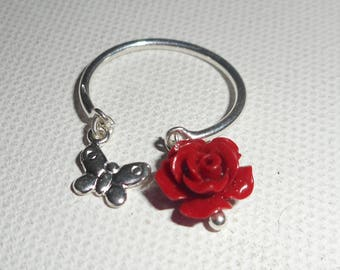 Original 925 sterling silver ring with rose red gorgonian and Butterfly