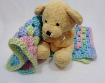 Teddy Bear with Crochet Pastel Blanket, Easter Basket Present for Little Girl. Doll Afghan with Tan Teddy Bear, Crochet Granny Square
