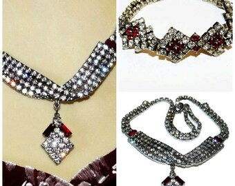 Vintage 1940s Necklace and Bracelet Set Crystal and Ruby Art Deco Wediing Jewelry