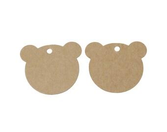 Étiquettes en forme d'ours - Ensemble de 10 ou 50