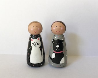 Dog and cat peg dolls - wooden peg doll - peg girls - dollhouse - peg people - dolls - pretend play - handpainted