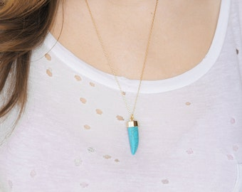 Turquoise Horn Necklace - Howlite Horn Necklace - Layering Necklace - Boho Necklace - Gypsy Necklace - 2016 Trend - Gold Filled Necklace