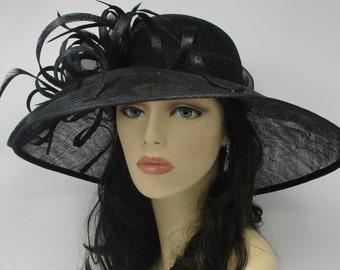 CM062 Black Kentucky Derby Hat, Church Hat, Wedding Hat, Easter Hat, Tea Party Hat Wide Brim Woman's Sinamay  Hat
