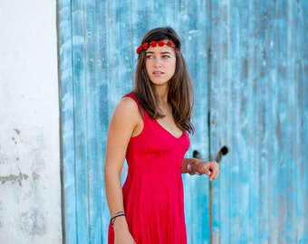 Short Red Linen Dress -   Crinkled Linen The Perfect Dress for Summer More Than 6 Colours to Choose From